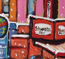 MONTREAL SNOWY DAY AT SCHWARTZ'S DELI CANADIAN ART BY CANADIAN ARTIST CAROLE SPANDAU Sticker