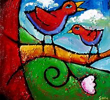 THE LOVEBIRDS SONG by ART PRINTS ONLINE         by artist SARA  CATENA
