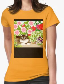 Maine Coon Cat in Patio Jungle Garden Womens Fitted T-Shirt