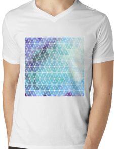 Blue Grungy Geometric Triangle Design Mens V-Neck T-Shirt
