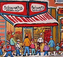 BEST SELLING MONTREAL PRINTS SCHWARTZ'S DELI MONTREAL ART BY CANADIAN ARTIST CAROLE SPANDAU by Carole  Spandau