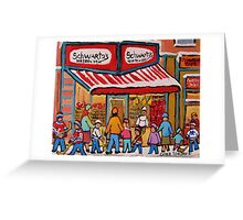 BEST SELLING MONTREAL PRINTS SCHWARTZ'S DELI MONTREAL ART BY CANADIAN ARTIST CAROLE SPANDAU Greeting Card