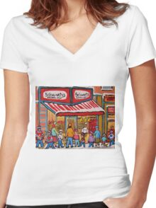 BEST SELLING MONTREAL PRINTS SCHWARTZ'S DELI MONTREAL ART BY CANADIAN ARTIST CAROLE SPANDAU Women's Fitted V-Neck T-Shirt