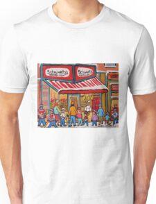 BEST SELLING MONTREAL PRINTS SCHWARTZ'S DELI MONTREAL ART BY CANADIAN ARTIST CAROLE SPANDAU Unisex T-Shirt