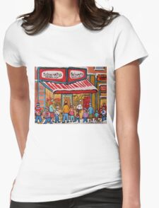 BEST SELLING MONTREAL PRINTS SCHWARTZ'S DELI MONTREAL ART BY CANADIAN ARTIST CAROLE SPANDAU Womens Fitted T-Shirt