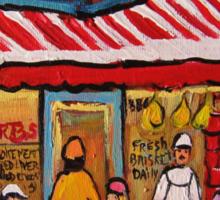 BEST SELLING MONTREAL PRINTS SCHWARTZ'S DELI MONTREAL ART BY CANADIAN ARTIST CAROLE SPANDAU Sticker