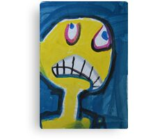 Troy - Graphic Yellow Face With Blue Background Canvas Print