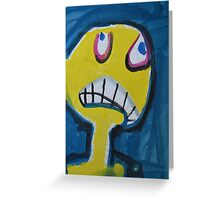 Troy - Graphic Yellow Face With Blue Background Greeting Card