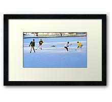 Teens Playing Ice Hockey Framed Print