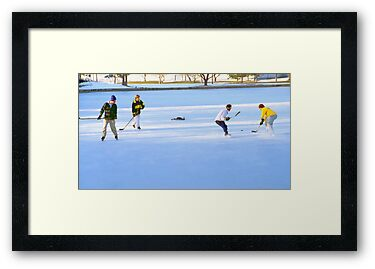 Teens Playing Ice Hockey by SteveOhlsen