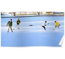 Teens Playing Ice Hockey Poster
