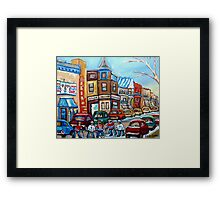CANADIAN PAINTINGS CANADIAN HOCKEY ART OUR NATIONAL PASTIME Framed Print