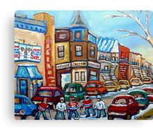 CANADIAN PAINTINGS CANADIAN HOCKEY ART OUR NATIONAL PASTIME Canvas Print