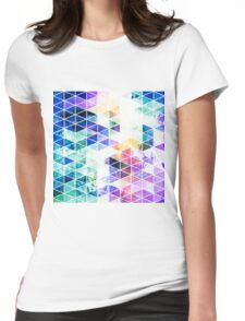 Grungy Bright Triangle Pattern Womens Fitted T-Shirt