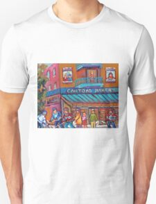 CANADIAN ART PAINTINGS OF KIDS PLAYING HOCKEY CANADIAN CULTURE  T-Shirt