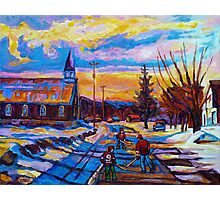 CANADIAN LANDSCAPE PAINTINGS HOCKEY PRACTICE ON THE COUNTRY ROAD BY CANADIAN ARTIST CAROLE SPANDAU Photographic Print