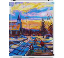 CANADIAN LANDSCAPE PAINTINGS HOCKEY PRACTICE ON THE COUNTRY ROAD BY CANADIAN ARTIST CAROLE SPANDAU iPad Case/Skin