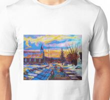 CANADIAN LANDSCAPE PAINTINGS HOCKEY PRACTICE ON THE COUNTRY ROAD BY CANADIAN ARTIST CAROLE SPANDAU Unisex T-Shirt