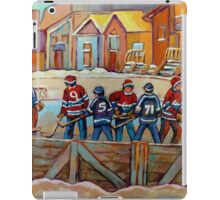 CANADIAN HOCKEY SCENES HOCKEY ART PAINTINGS BY CANADIAN ARTIST CAROLE SPANDAU iPad Case/Skin