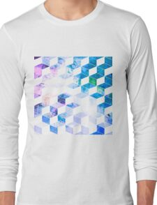 Grungy Blue Geometric Box Pattern Long Sleeve T-Shirt