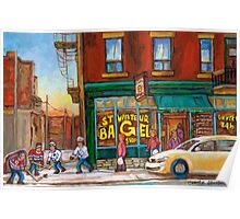 CANADIAN PAINTINGS BY CANADIAN ARTIST OF MONTREAL WINTER SCENES Poster
