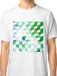Grungy Green Geometric Box Pattern Classic T-Shirt
