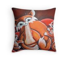 Mother and Kittens - Art by TET Throw Pillow