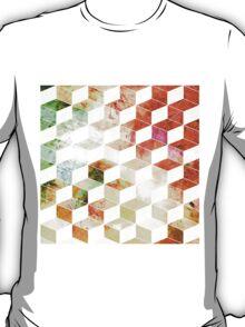 Grungy Orange/Green Geometric Box Pattern T-Shirt