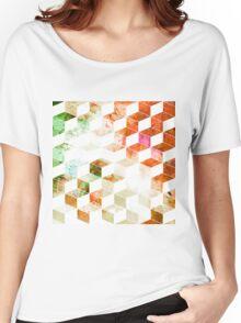 Grungy Orange/Green Geometric Box Pattern Women's Relaxed Fit T-Shirt