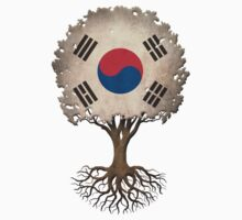 Tree of Life with South Korean Flag One Piece - Short Sleeve