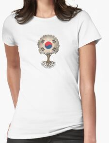 Tree of Life with South Korean Flag Womens Fitted T-Shirt
