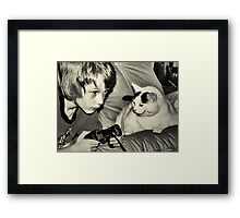 boy & game cat Framed Print