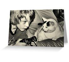 boy & game cat Greeting Card