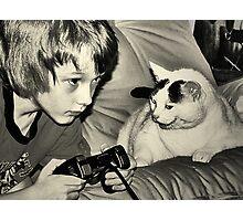 boy & game cat Photographic Print