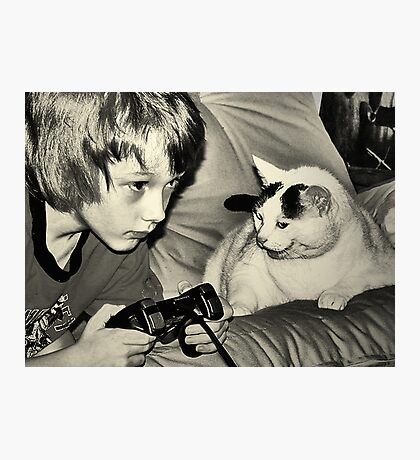 boy & game cat Photographic Print