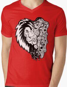 Psychedelly Lion Mens V-Neck T-Shirt