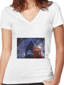 Soho London Christmas 2014 Women's Fitted V-Neck T-Shirt