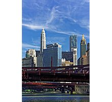 Chicago river cruise view towards  Dearborn Street Bridge Photographic Print