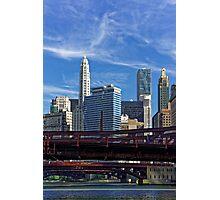 Chicago river cruise view towards  Dearborn Street Bridge Photographic Print