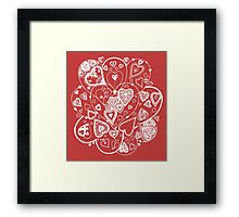 Hearts Within Hearts Aussie Tangle White (See Description Notes for Colour Options). Framed Print