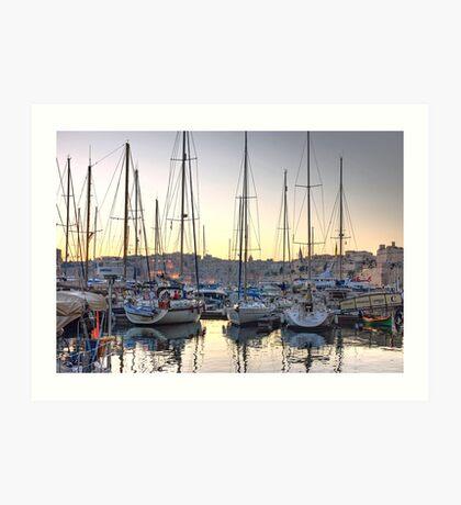 Sundown at the Marina Art Print