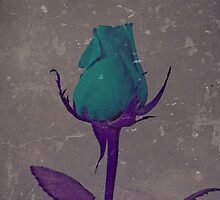 Fantasy Teal and Purple Rose Bud Art by Adri Turner