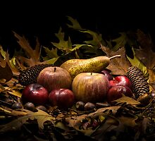 Autumnal still life composition with apples, pear and prunes by enolabrain