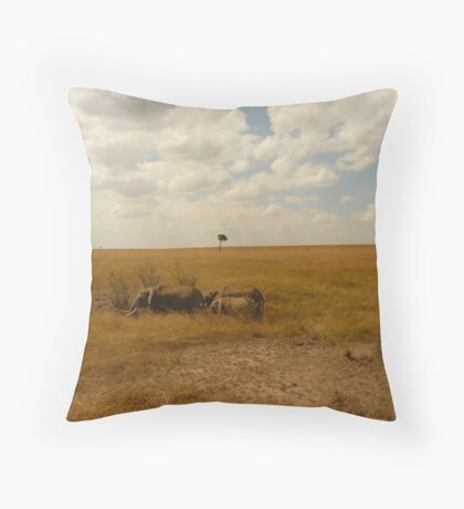 Elephant family browsing in the shade Throw Pillow