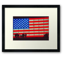 Neon American Flag with Silhouetted Family Framed Print