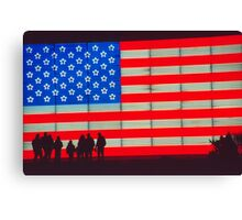 Neon American Flag with Silhouetted Family Canvas Print