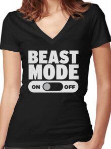 Beast Mode On Women's Fitted V-Neck T-Shirt