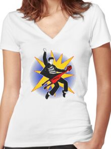 Even playing a rubber chicken I kick The Beatles' asses Women's Fitted V-Neck T-Shirt