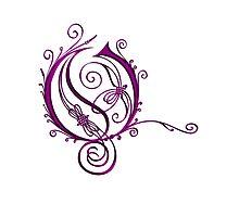 ANTIQUE FILIGREE LETTER OPETH - Shiny Purple Photographic Print