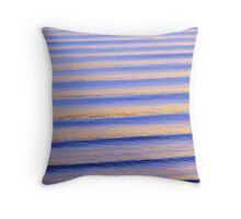 Blue & Orange Sunset Ripples Throw Pillow